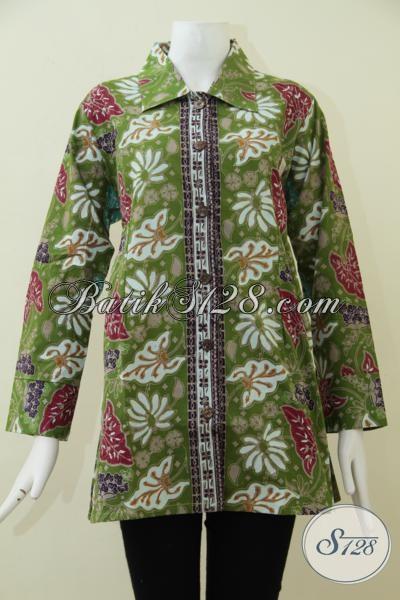 Butik Online Solo Jual Pakaian Batik Perempuan Model Blus Masa Kini, Baju Batik Cap Tulis Kwalitas Mewah Harga Terjangkau [BLS1785CT-XXL]