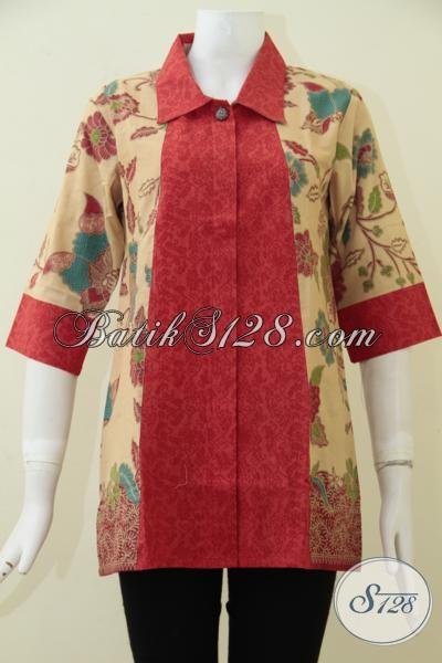 Pakaian Batik Print Lasem Kwalitas Bagus Harga Terjangkau, Baju Blus Batik Dengan kombinasi Warna Keren Membuat Cewek Tampil Lebih Feminim Dan Cantik [BLS1792PL-M]