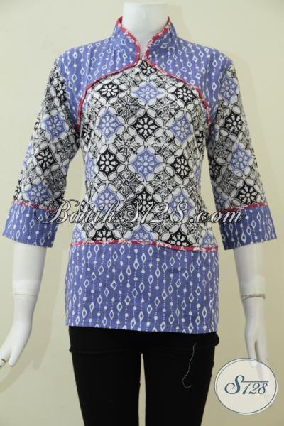 Baju Batik Wanita Muda Masa Kini, Blus Batik Cap Desain Trendy Keren Dan Berkelas, Cocok Untuk Pesta Dan Hangouts, Size S
