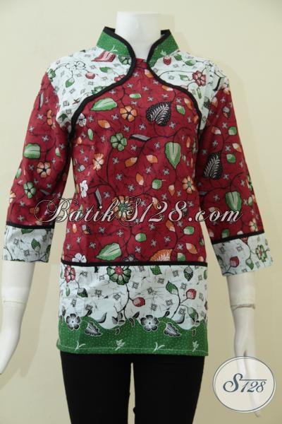 Jual Pakaian Batik Blus Online, Baju Batik Perempuan Trendy Desain Masa Kini Yang Lebih Bagus Dengan Harga Murah Meriah [BLS1805P-L]