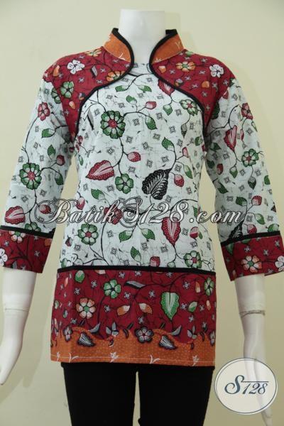 Belanja Baju Batik Print Motif Terbaru Dengan Desain Mewah, Pakaian Batik Solo Modern Cocok Untuk  Wanita Muda Dan Dewasa, Size L