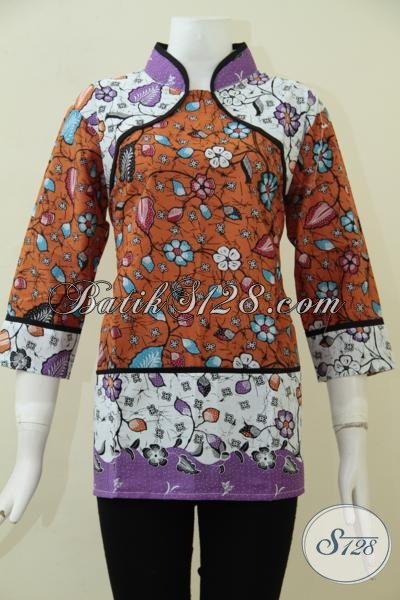 Pakaian Blus Batik Kombinasi Warna Keren Dengan Berpadu Motif Trendy Yang Membuat Penampilan Wanita Masa Kini Lebih Berkwalitas, Size L
