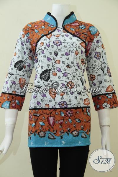 Butik Pakaian Batik Wanita Online, Sedia Blus Batik Model terbaru Yang Lebih Keren Dan Berkelas Sempurnakan Penampilan Wanita Muda Masa Kini, Size L