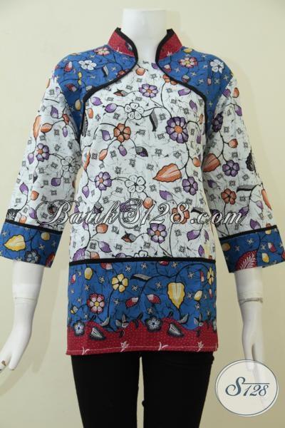 Baju Blus Batik Masa Kini , Busana Batik Perempuan Muda Trendy Tampil Percaya Diri [BLS1810P-L]