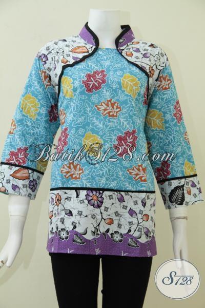 Toko Online Batik Jual Busana Batik Trend Masa Kini , Blus Batik Fashionable Bisa Untuk Kerja Santai Hingga Ke Pesta [BLS1813P-XL]