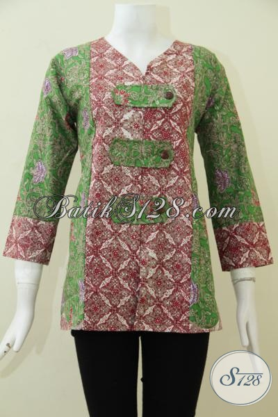 Jual Blus Batik Mewah Kombinasi Warna Merah Dan Hijau Dengan Motif Unik, Baju Batik Cap Tulis Kwalitas Halus Dan Bermutu Tinggi, Size M – L