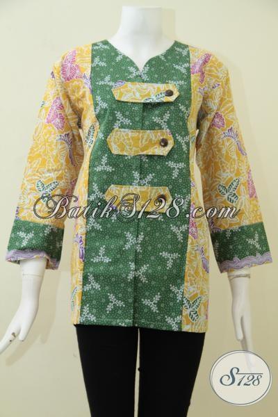 Blus Batik Trendy Model Masa Kini Dengan Sentuhan Oriental Lebih Keren Dan Fashionable, Baju Batik Wanita Muda Tampil Lebih Segar Dan Feminim [BLS1822P-L]
