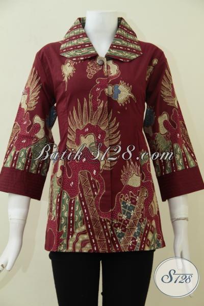 Busana Blus Batik Keren Warna Merah Model Kerah Lebar, Baju Batik Tulis Murah Dengan Kwalitas Istimewa Cocok Untuk Acara Resmi [BLS1829T-M]