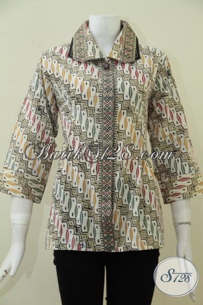 Baju Batik Formal Dengan Desain Mewah Kerah Lebar, Blus Batik Cap Tulis Motif Klasik Modern Wanita Karir Tamil Elegan Berkelas, Size M
