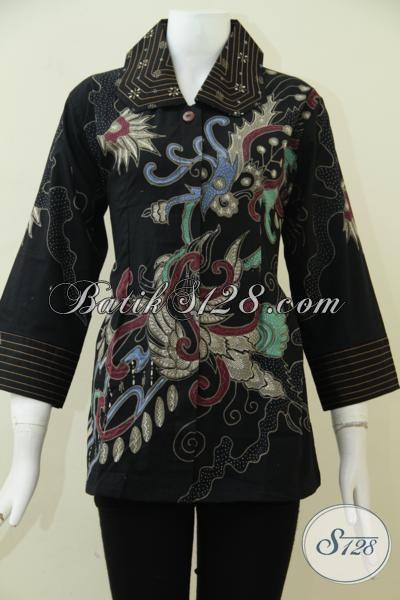 Baju Batik Tulis Dengan Warna Dasar Hitam Elegan, Blus Batik Kwalitas Premium Desain Mewah Yang Pas Untuk Baju Kerja, Size L