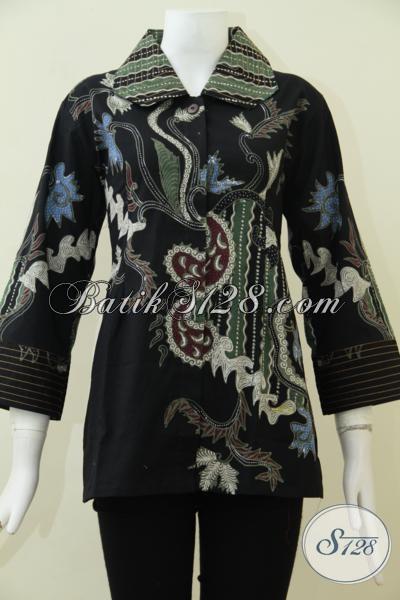 Busana Batik Tulis Wanita Karir Aktif, Blus Batik Hitam Model Formal Terbaru Yang Lebih Elegan Dan Berkelas, Size L