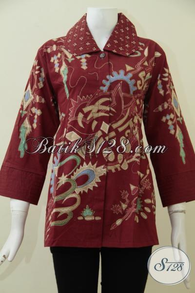 Pakaian Batik Blus Warna Merah Untuk Cewek, Busana Batik Tulis Motif Klasik Dengan Desain Mewah Berkelas, Pas Banget untuk seragam Kerja, Size L