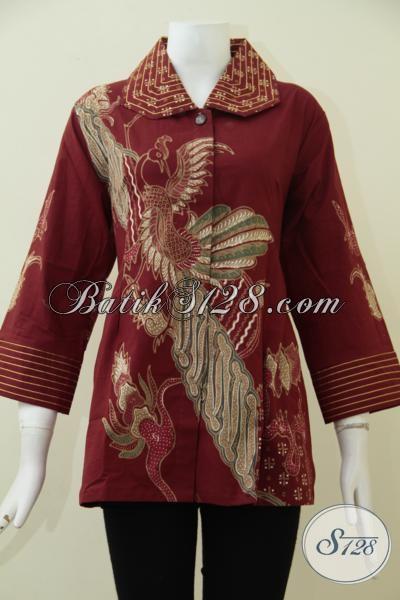 Agen Pakaian Batik Solo Paling Up To Date, Jual Blus Batik Tulis Warna Merah Keren Cocok Untuk Seragam Kantor Wanita Karir Bisa Tampil Lebih Percaya Diri [BLS1838T-XL]