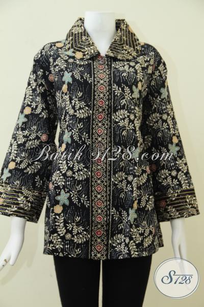 Jual Online Pakaian Batik Blus Ukuran Super Besar Untuk Perempuan Dengan Badan Gemuk, Blus Batik Proses Cap Tulis Kwalitas Premium [BLS1842CT-XXL]