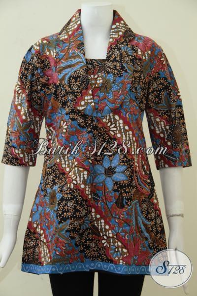 Baju Batik Lengan Pendek Wanita Untuk Ke Kantor Blus Batik Motif