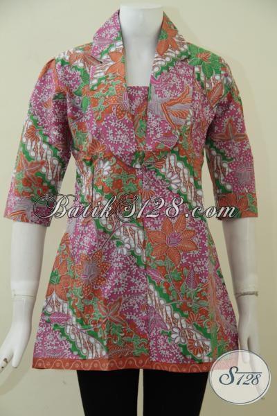 Busana Blus Batik Klasik Warna Kombinasi Ping Hijau Dan Orange, Baju Blus Mewah Proses Print Harga Murmer, Size M – XXL