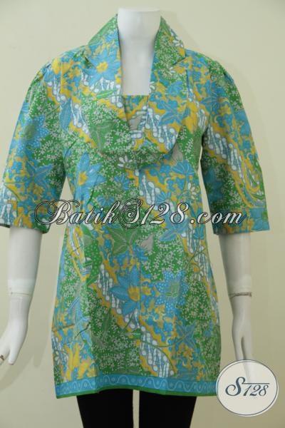 Pusat Penjualan Busana Batik Untuk Perempuan Di Solo, Sedia Blus Batik Kerja Warna Hijau Berpadu Motif Keren Dan Unik, Baju Batik Berkwalitas Dengan Harga Murah Meriah [BLS1872P-L]