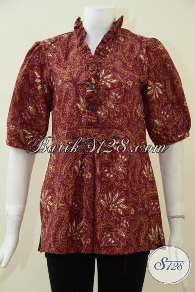 Blus Batik Coklat Klasik Modern Lengan Tiga Perempat, Baju Batik Proses Cap Kain Halus Dan Tidak Panas, Bisa Untuk Kerja Dan Santai, Size M
