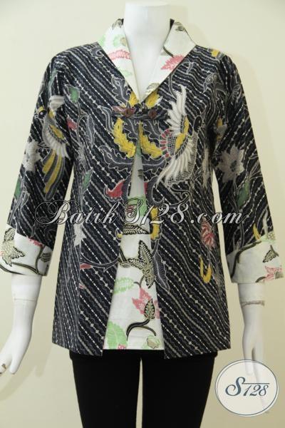 Blus Batik Trendy Desain Formal Double Motif Lebih Keren Dan Fashionable, Busana Batik Mewah Dengan Harga Terjangkau Untuk Kesempurnaan Penampilan Wanita Masa Kini [BLS1879BT-M]