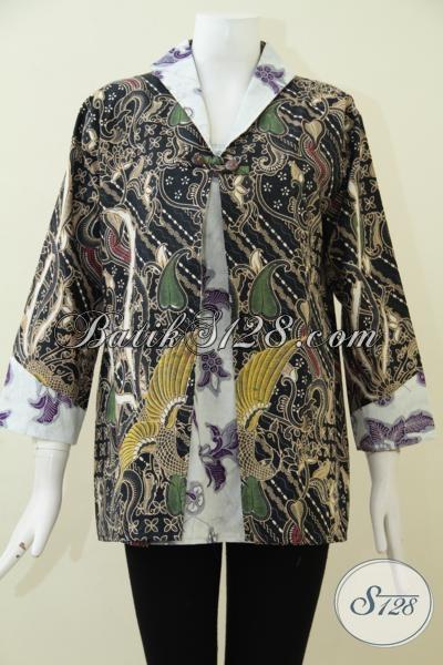 Jual Baju Batik Perempuan Muda Masa Kini, Blus Batik Keren Untuk seragam Kantor Kwalitas Bagus Harga Terjangkau, Size L