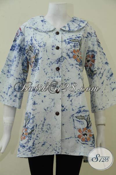 Busana Batik Desain Premium Dengan Bahan Kain Halus Serta Adem, Blus Batik Kerja Motif Terkini Wanita Tampil Lebih Berkelas, Size XXL