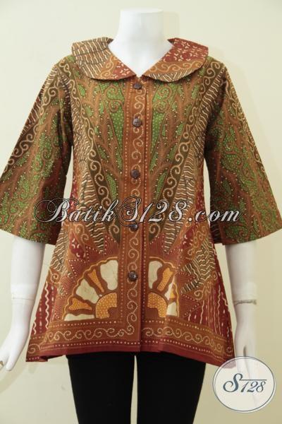 Baju Batik Wanita Dewasa Model Terbaru Dengan Motif Klasik Yang Berkelas, Batik Untuk Kerja Perempuan Karir Untuk Tampil Elegan Dan Mewah, Size M