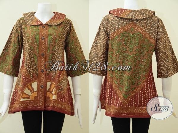 Pakaian Batik Tulis Model Kerah Lebar Motif Klasik Untuk Wanita Kantoran, Blus Batik Etnik Perempuan Tampil Lebih Elegan Dan Berkelas [BLS1903T-M]