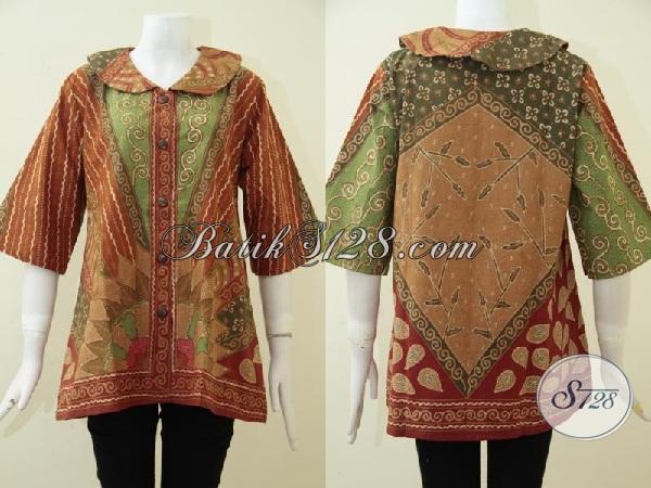 Busana Batik Klasik Khas Solo Indonesia, Baju Blus Batik Tulis Desain Formal Nan Mewah Yang Pas Untuk Kerja Dan Acara Resmi, Size L