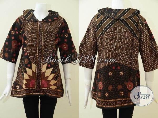 Busana Batik Klasik Untuk Wanita, Blus Batik Formal Desain Mewah Berkelas Cocok Untuk Seragam KerjaSehari-Hari, Size L