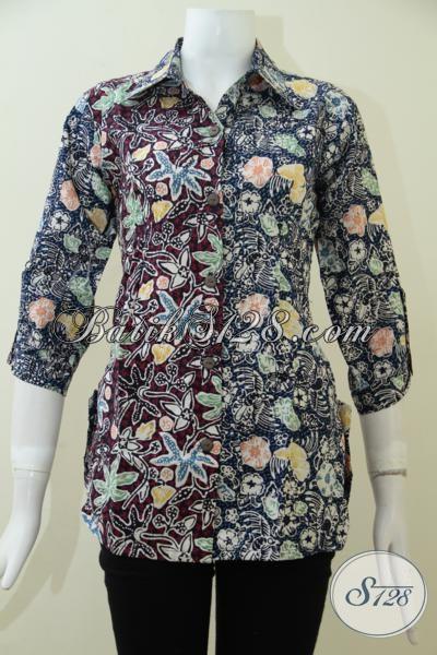 Blus Batik Lengan Tiga Perempat Hadir Dengan Desain Bagus Trend Masa Kini Yang Banyak Di Sukai Wanita Karir, Baju Batik Kombiasi Dua Motif Dan Warna Keren [BLS1910CT-S]