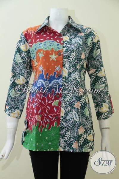 Agen Model Baju Batik Solo Terbaru Trend Masa Kini, Blus Batik Wanita Karir Dengan kombinasi Warna Serta Motif Yang Lebih Fashionable [BLS1912CP-M]