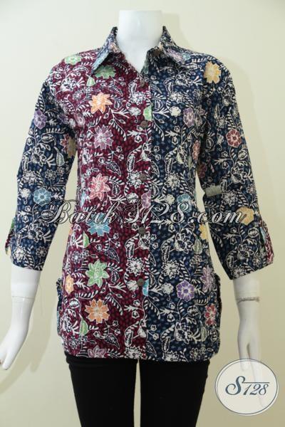 Blus Batik Dua Motif Trend Mode Masa Kini, Pakaian Batik Cewek Karir Proses Cap Tulis Harga Terjangkau, Size M