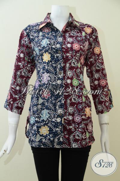Batik Kerja Kombinasi Warna Merah Dan Biru, Blus Batik Motif Keren Yang Modern Dan Berkelas, Size M