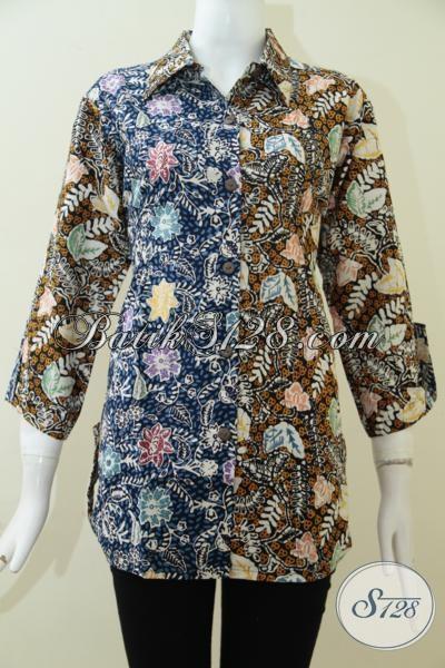 Pakaian Batik Wanita Terbaru Proses Cap Tulis, Blus Batik Kombinasi Dua Motif Yang Keren Serta Fashionable, Size L