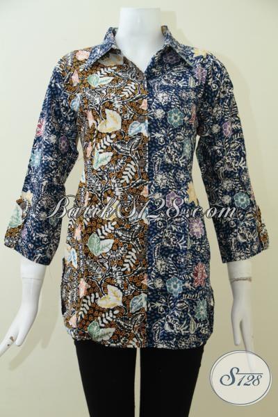 Jual Online Blus Batik Trendy Modern Berkelas, Blus Batik Mewah Kwalitas Istimewa Harga Terjangkau, Size L