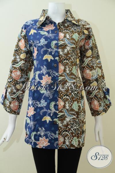 Jual Busana Batik Bagus Dengan Harga Terjangkau, Baju Blus Batik Motif Paling Baru Yang Berpadu Desain Keren Dan Fashionable Untuk Wanita Karir Berbadan Gemuk [BLS1923CT-XXL]