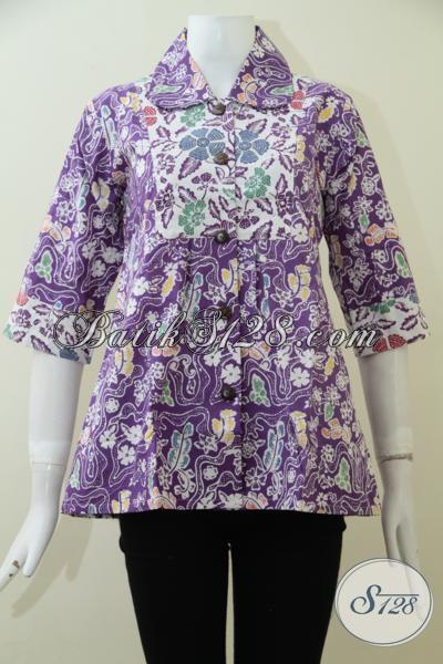 Blus Batik Cewek Modern Yang Ingin Tampil Trendy Dan Modis, Batik Ungu Motif Unik Terkini Yang Bisa Buat Kerja Maupun Jalan-Jalan, Size S