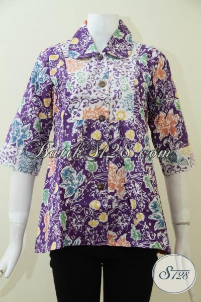 Busana Batik Wanita Muda Masa Kini Dengan Motif Keren Berpadu Warna Ungu Yang Menawan, Blus Batik Trendy Yang Pas Buat Kerja Maupun Baju Pesta, Size M