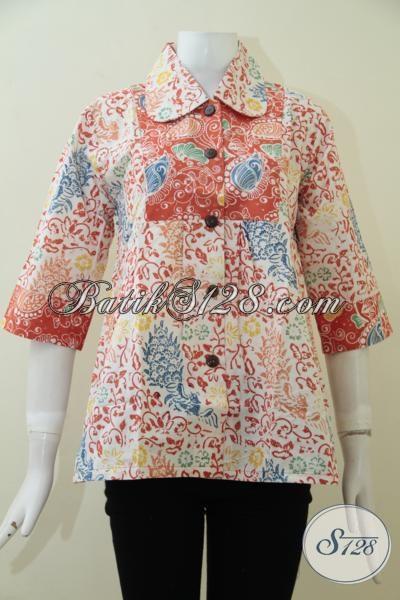 Busana Blus Terbaru Koleksi Online Shop Batik Modern, Baju Batik Trendy Penunjang Penampilan Wanita Karir Masa Kini [BLS1929C-L]