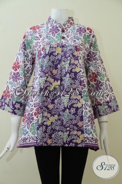 Baju Batik Wanita Paling Trendy Saat Ini, Blus Batik Dengan Kombinasi Dua Motif Yang Memberikan Kesan Mewah Serta Elegan [BLS1941C-M]