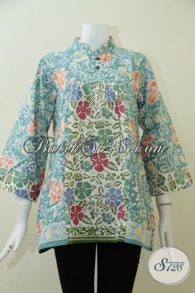 Pakaian Batik Kombinasi Dua Motif Trend Baru Busana Wanita Modern Masa Kini, Baju Blus Batik Solo Klasik Modern Kwalitas Bagus [BLS1944C-L]