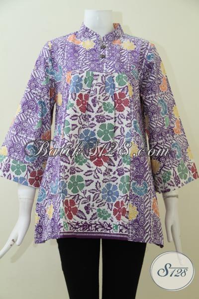 Blus Batik Ungu Bermotif Modern Sentuhan Klasik Yang Lebih Elegan, Baju Batik Wanita Desain Mewah Harga Terjangkau[BLS1946C-L]