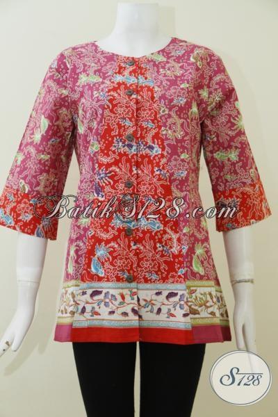 Toko Batik Online Khas Solo Jawa Tengah, Jual Busana Wanita Kombinasi Warna Merah Dan Pink Berpadu Desain Blus Yang Cantik Serta Elegan [BLS1957P-M]