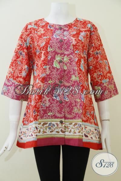 Pusat Batik Online Asli Solo Sedia Aneka Blus Batik Print Berkwalitas Dengan Harga Murmer, Baju Batik Untuk Kerja Wanita Muda Dan Dewasa [BLS1958P-M]
