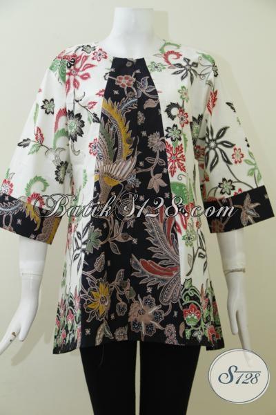 Jual Baju Batik Modern Klasik Kombinasi Tulis Untuk Wanita, Blus Batik Tiga Perempat Desain Mewah Berkelas [BLS1964BT-XL]