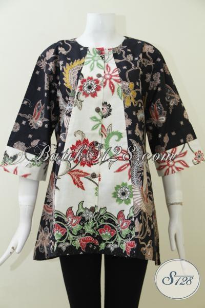 Tempat Belanja Pakaian Batik Online Paling Aman, Sedia Blus Batik Klasik Modern Proses Kombinasi Tulis Dengan Kombinasi Warna Etnik Nan Elegan [BLS1965BT-XL]