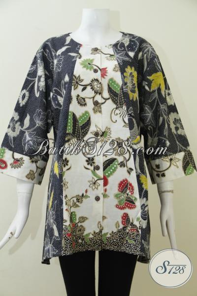 Pakaian Batik Dua Warna Terbaru Baju Batik Blus Motif
