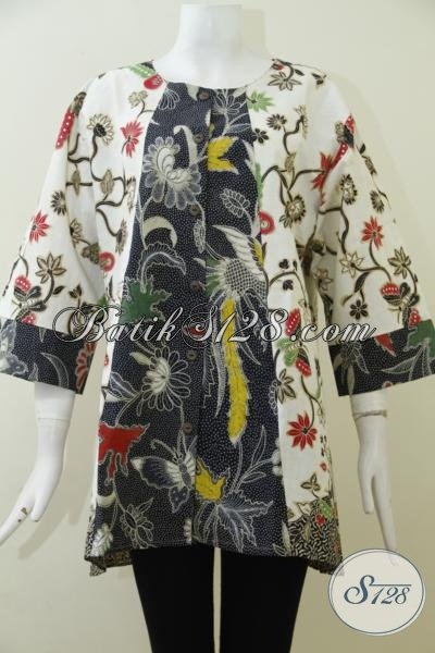 Pakaian batik Wanita Muda Ukuran Jumbo, Blus batik Kombinasi Tulis Motif Keren Trend Masa Kini Harga Terjangkau, Size XXL