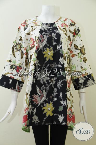 Busana Blus Batik Ukuran Super Jumbo, Busana Batik Trendy Exclusive Untuk Wanita Dengan Badan Gemuk [BLS1972BT-XXXL]