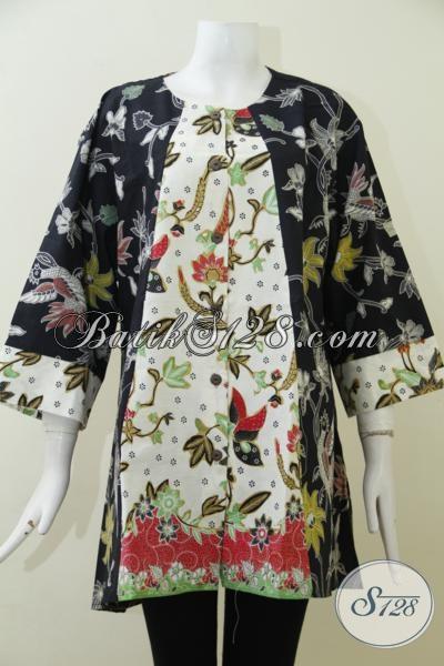 Baju Batik Kerja Wanita Gemuk Dengan Ukuran Jumbo, Blus Batik Trendy Proses Kombinasi Tulis desain Keren Dan Mewah, Size XXL